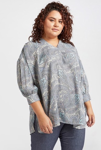 Paisley Print V-neck Top with 3/4 Sleeves