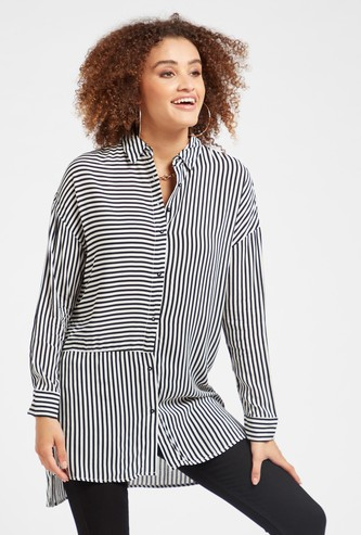 Striped Oversized Tunic with Long Sleeves and Button Closure