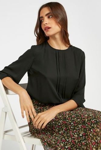 Solid Top with 3/4 Sleeves and Pintuck Detail