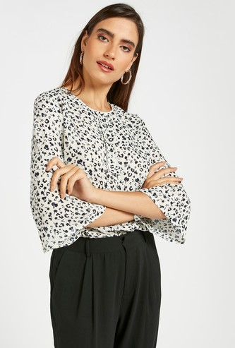 All-Over Print Pintuck Blouse with Round Neck and 3/4 Sleeves