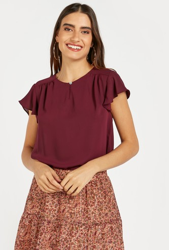 Solid Top with Round Neck and Flutter Sleeves