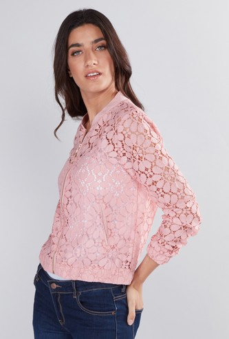 Lace Detail Bomber Jacket with Long Sleeves and Zip Closure