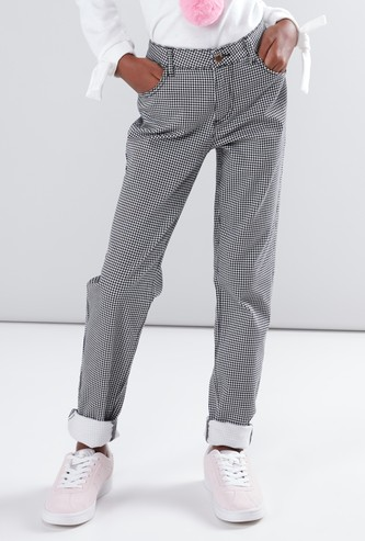 Chequered Full Length Trousers with Button Closure