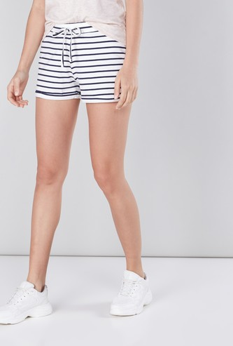 Striped Shorts with Drawstring in Regular Fit
