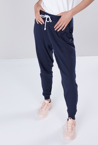 Solid Jogger Pants with Cuffed Ankles and Drawstring Closure