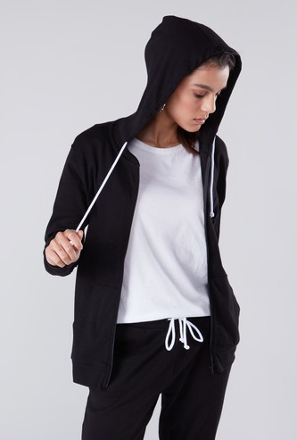 Hooded Sweatshirt with Long Sleeves and Zip Closure