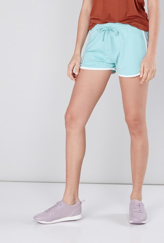 Contrast Piping Detail Shorts with Drawstring