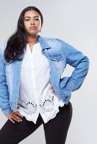 Denim Trucker Jacket with 2-Chest Pockets and Long Sleeves