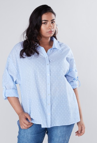 Swiss Dot Embroidered Shirt with Long Sleeves