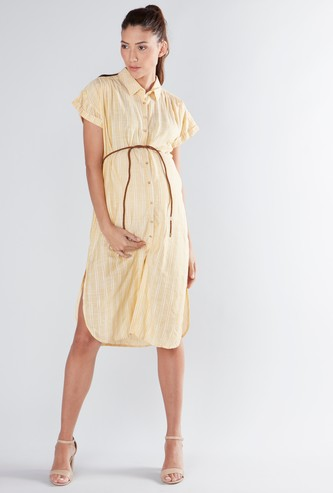 Striped Tunic with Cap Sleeves and Belt