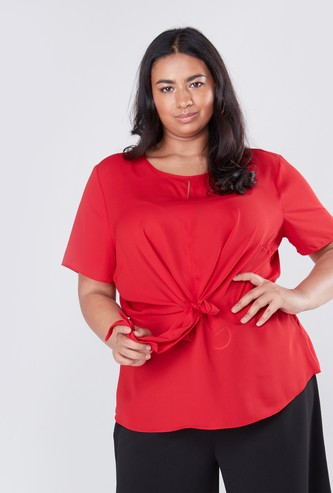 Regular Fit Solid Top with Short Sleeves and Knot Detail