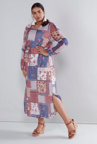 فستان ماكسي بأكمام طويلة ورباط وطبعات