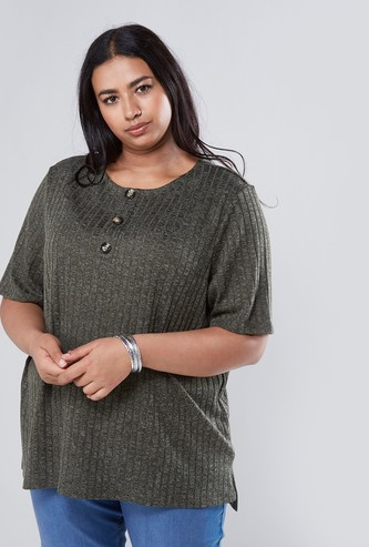 Ribbed Round Neck Top with Short Sleeves and Button Detail