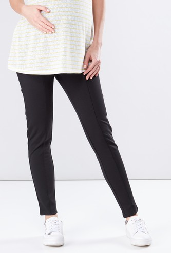 Maternity Ponte Leggings in Skinny Fit with Zip Detail