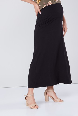 Solid Maternity A-line Maxi Skirt