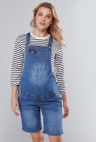 Maternity Short Denim Dungarees with Pocket Detail