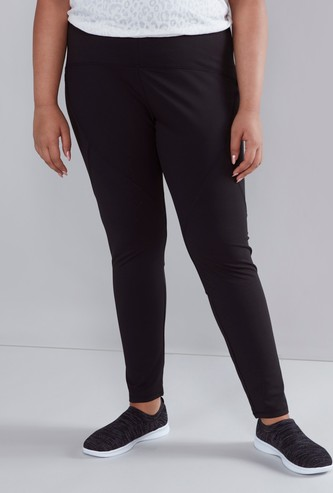 Regular Fit Solid Active Leggings with Elasticised Waistband