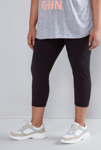 Regular Fit Cropped Active Capris with Elasticised Waistband