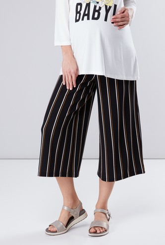 Striped Maternity Culottes with Broad Elasticised Waistband