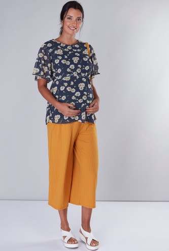 Maternity Floral Printed Top with Tie Ups