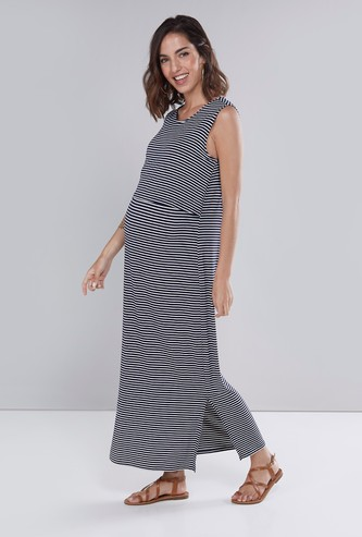 Maternity Sleeveless Layered Maxi Dress with Side Slit and Stripes