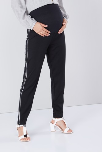 Maternity Full Length Leggings with Tape Detail