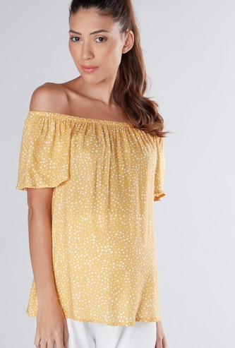 Printed Maternity Off Shoulder Top with Short Sleeves