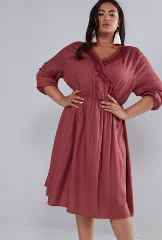 Embroidered V-neck Midi Dress with 3/4 Sleeves