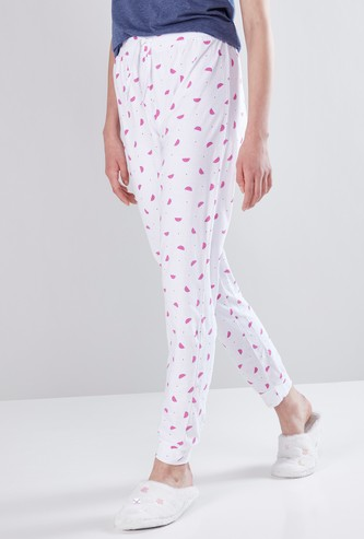 Printed Full Length Jog Pants with Drawstring