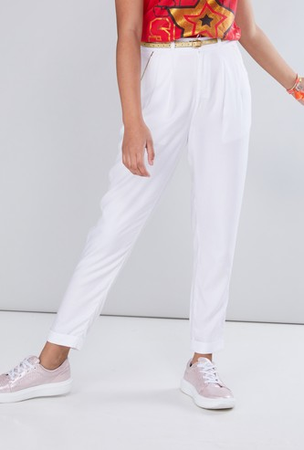 Metallic Piping Detail Trousers with Belt
