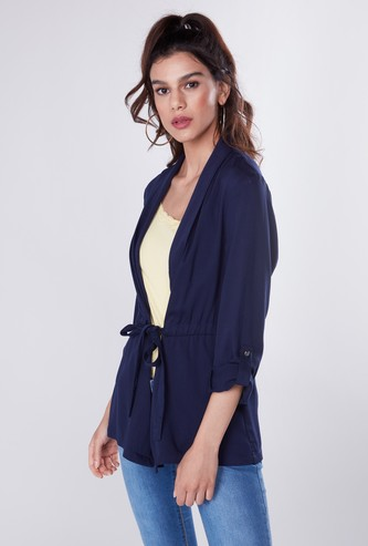 Solid Jacket with Long Sleeves and Tie Ups