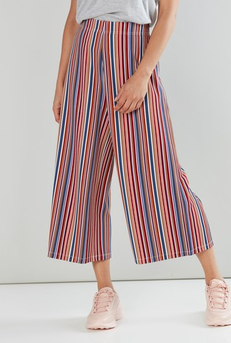Mid-Rise Striped Culottes with Elasticised Waistband