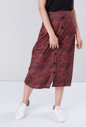 Printed A-line Midi Skirt with Button Detail
