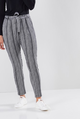 Striped Cropped Trousers with Tie-Up Closure
