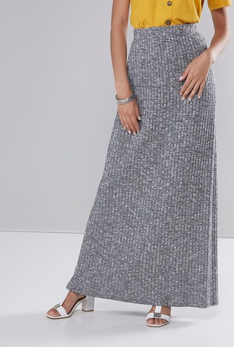 Ribbed Solid Maxi Skirt