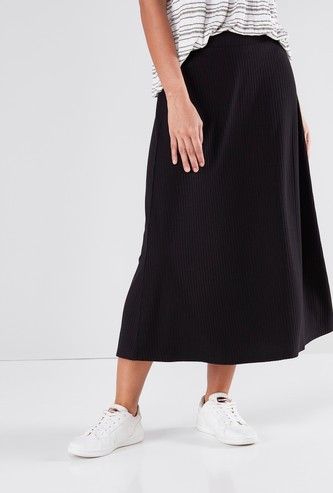 Ribbed A-line Maxi Skirt with Elasticised Waistband