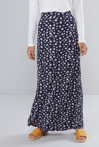 Floral Printed Maxi A-line Skirt