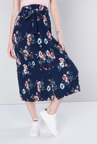 Floral Printed A-line Skirt with Tie-Up Closure and Button Accent
