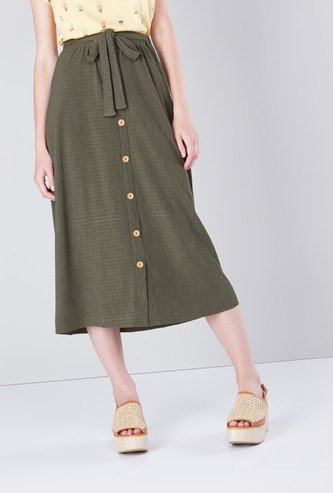 Textured Mid Waist Midi Skirt with Button Detail and Tie Ups
