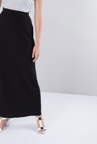 Solid Coloured Crepe Maxi Skirt