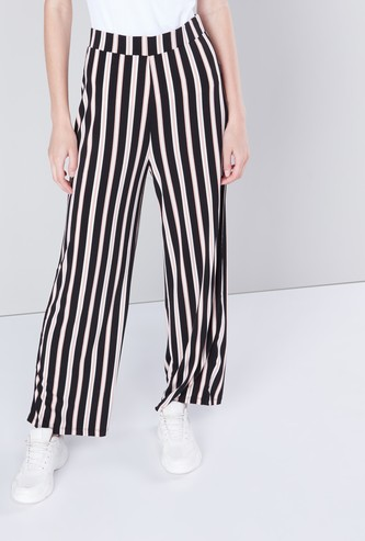 Striped Mid-Rise Palazzos with Elasticated Waistband