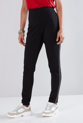 Mid-Rise Ponte Pants with Tape Detail