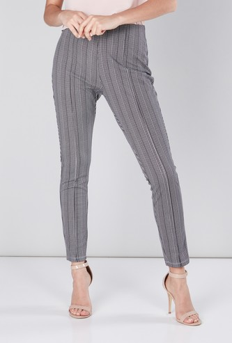 Printed Full Length Mid-Rise Ponte Pants in Regular Fit