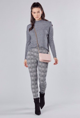 Checked Ponte Pants with Elasticised Waistband