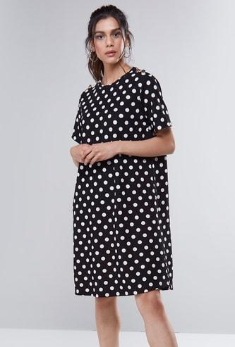 Polka Printed Round Neck Midi Shift Dress with Short Sleeves