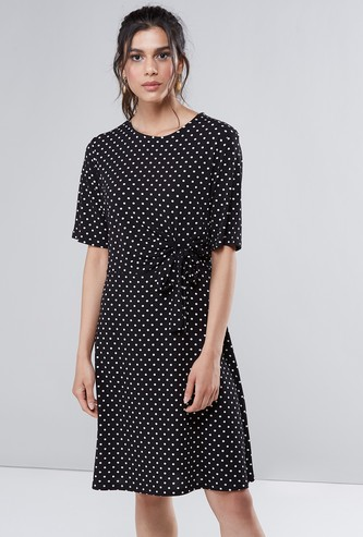 Polka Printed Round Neck Midi A-Line Dress with Short Sleeves