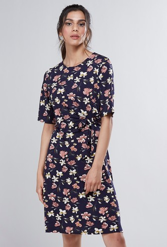 Floral Printed Round Neck Midi A-Line Dress with Short Sleeves