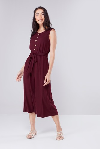 Ribbed Sleeveless Jumpsuit with Scoop Neck and Tie Up Detail