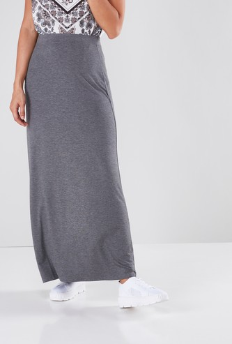 Textured Maxi Skirt with Elasticated Waistband