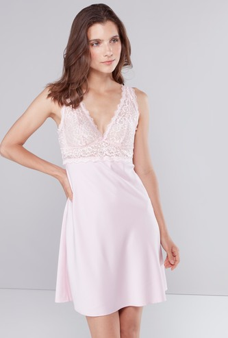 Sleeveless Chemise with Plunge Neck and  Lace Bodice